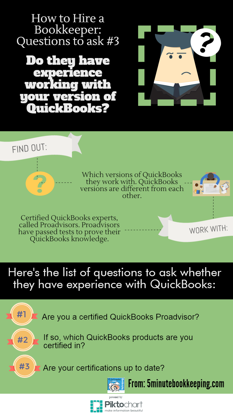 how to hire a bookkeeper do they have experience working with version of quickbooks