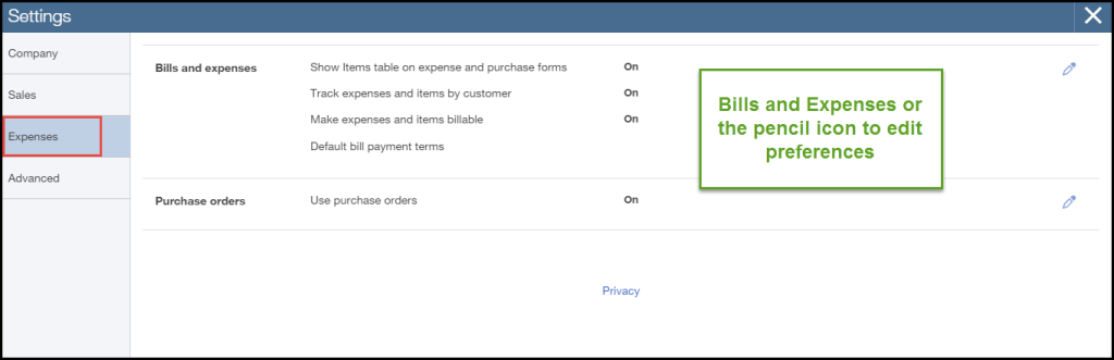 How to customize expense settings in QuickBooks Online
