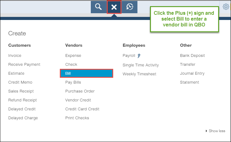 How to enter a vendor bill in QuickBooks Online