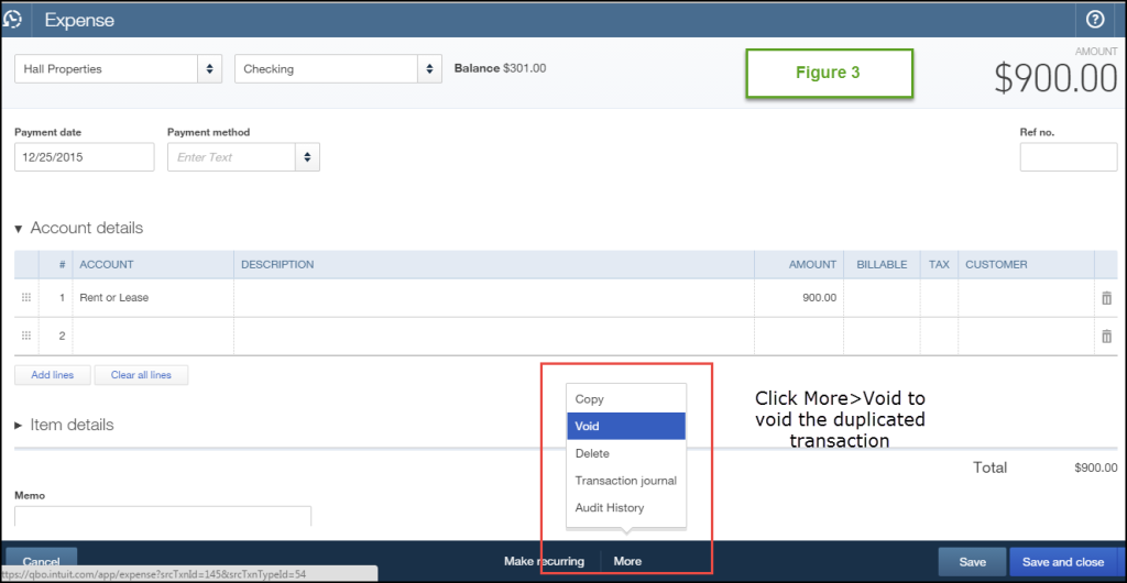 how to fix duplicated expenses in Quickbooks online