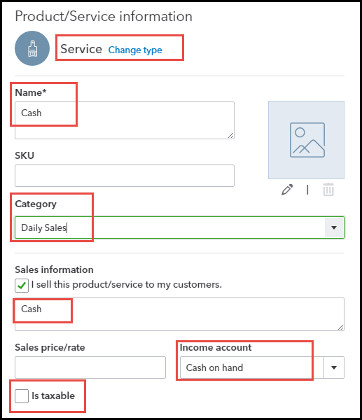 Product and service information in QBO