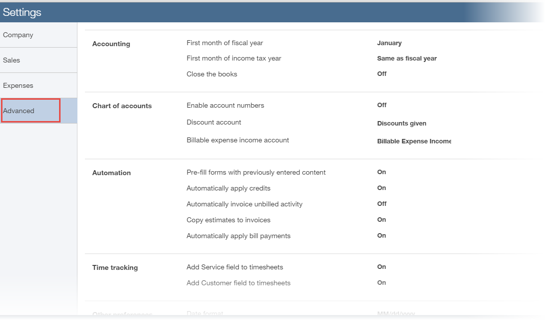 How to Customize Advanced Settings in QuickBooks Online