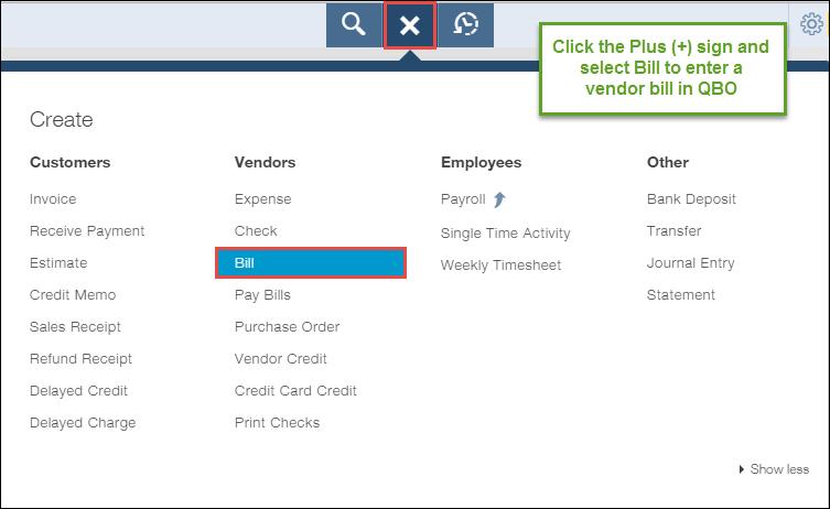 How To Enter A Vendor Bill In QuickBooks Online - Quickbooks online invoice number