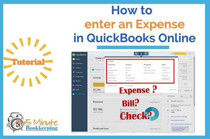 How to enter an Expense in QuickBooks Online