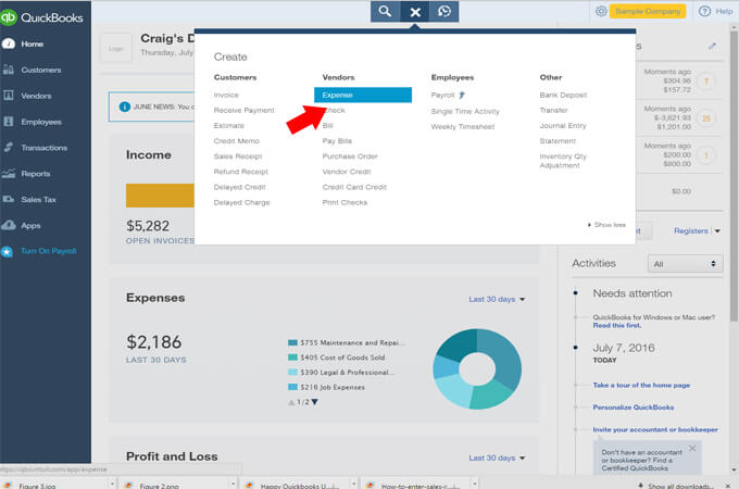 how to delete expense in quickbooks online