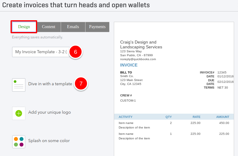 select dive in with a template to choose a form style to begin customizing your invoice